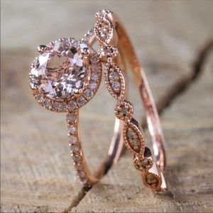 Rose Gold Jewelry - vintage 2 piece ring set